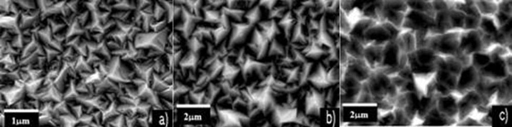 SEM micrographs of the different 3D nanomorphologies of a) standard LPCVD ZnO, b) new LPCVD ZnO optimized for mc-Si:H before surface treatment and c) same as b), after surface treatment